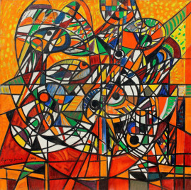 Kompozycja futurystyczna, 2008 olej, płótno 150 x 150 cm
