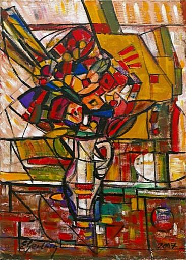 Kwiaty w wazonie II, 2007 olej, akryl, 71 x 51 cm