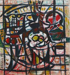Martwa natura dynamiczna, 1986 olej, akryl, 74 x 69 cm