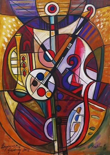Instrumenty, 2002 olej, akryl, 102 x 73 cm