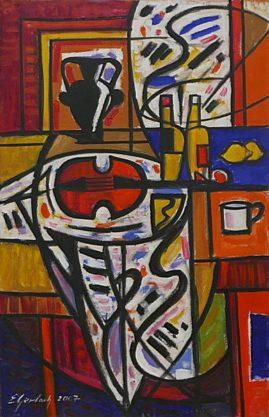 Martwa natura z czerwonymi skrzypcami, 2002 olej, akryl, 93 x 60 cm