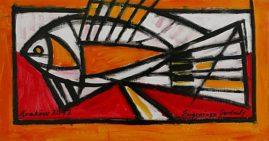 Ryba, 2012 olej-akryl, płótno, 44 x 83 cm