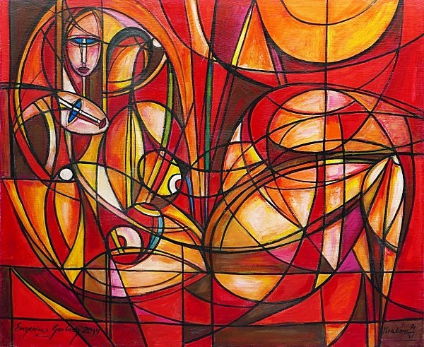 Przyjaciółki, 2014 akryl na płótnie, 115 x 140 cm