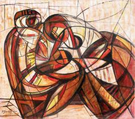 Kochankowie - 017, 2017 akryl, olej, płótno, 110 x 122,5 cm