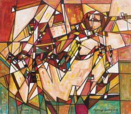 Akt geometryczny, 2018 olej, płótno, 110 x 126 cm