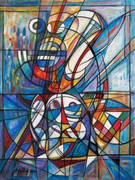 Kompozycja błękitna, 2020 olej, płótno, 120 x 91 cm