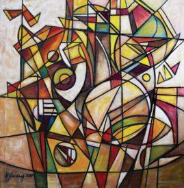 Kompozycja geometryczna - 020, 2020 olej, płótno, 102 x 101 cm