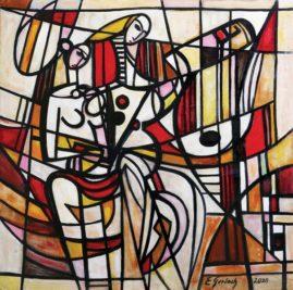 Duet - 020, 2020 olej, płótno, 100 x 101,5 cm