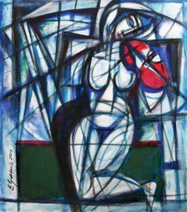 Akt z czerwonymi skrzypeczkami, 2019 olej, płótno, 71 x 62 cm