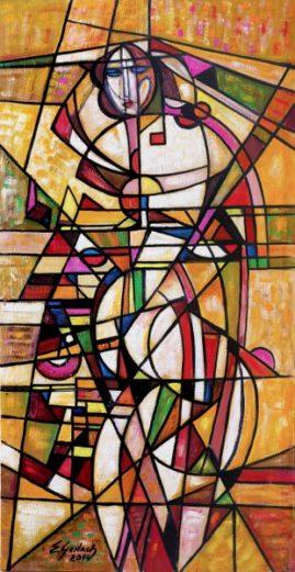 Akt futurystyczny - 019, 2019 olej, płótno, 122 x 65 cm
