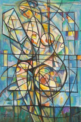 Akt z lusterkiem – błękitny, 2011 olej, płótno, 150 x 100 cm