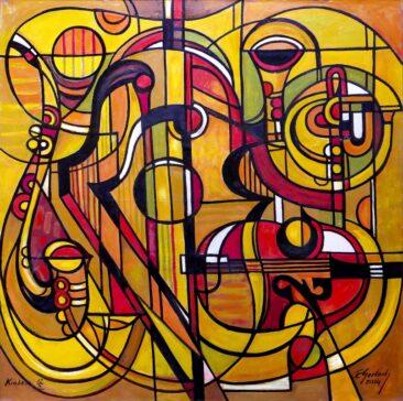 Instrumenty - 014, 2014 olej, płótno, 150 x 150 cm