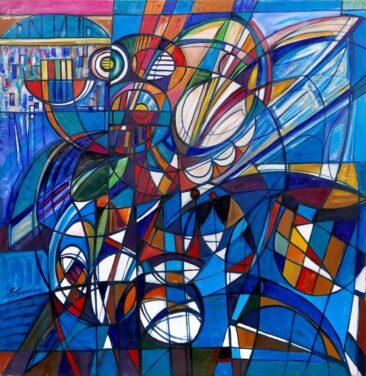 Kompozycja błękitna - III, 2015 olej, płótno, 150 x 150 cm