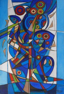 Kompozycja błękitna, 2021 olej, płótno, 150 x 100 cm
