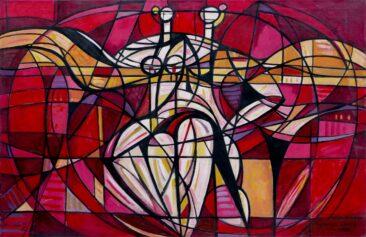 Czerwony balet - 92, 1992 olej, płótno, 100 x 150 cm