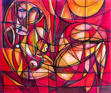 Przyjaciółki, 2014 olej, akryl, płótno, 116 x 139 cm