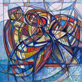 Kochankowie, 2021 olej, płótno, 124 x 124 cm