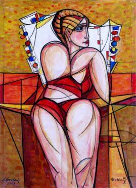 Akt z dekoracyjną poduszką, 2009 olej, płótno, 114 x 91 cm