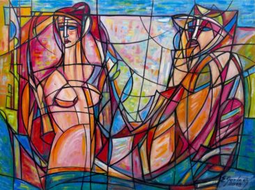 Posejdon i afrodyta, 2018 olej, płótno, 90 x 121 cm