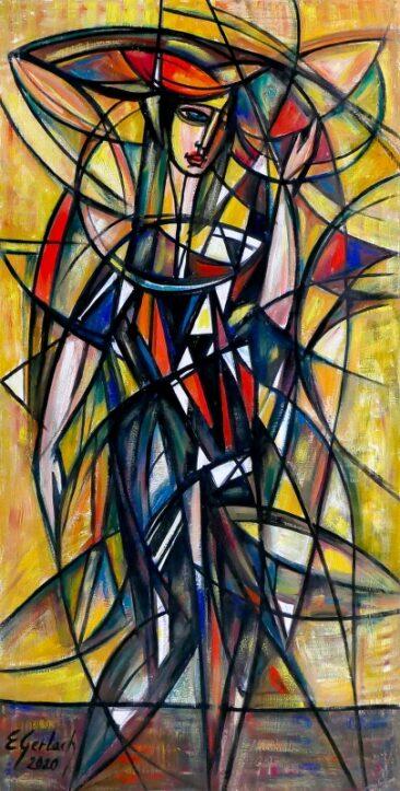 Dama w czerni, 2020 olej, płótno, 123 x 62 cm