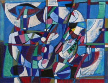 Kompozycja błękitna, 2009 olej, płótno, 90 x 116 cm