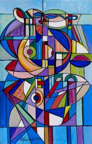 Błękitne tango - 019, 2019 akryl, płótno 150 x 72 cm
