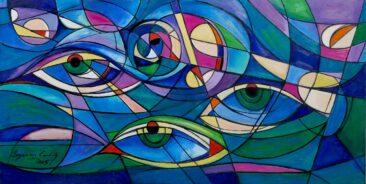 Trzy spojrzenia, 2015 olej,  płótno, 80 x 160 cm