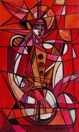 Dobosz - 01, 2001 akryl,  płótno, 119 x 70 cm