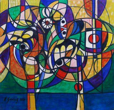 Walka kogutów - 020, 2020 olej,  płótno, 102 x 98 cm