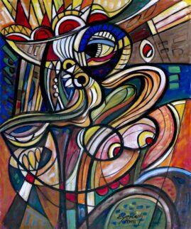 Akt z głową byka, 2018 olej, akryl, płótno, 101 x 84 cm