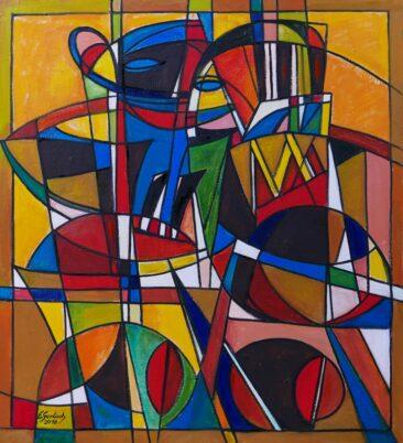 Bal maskowy - tango, 2018 olej,  płótno, 104 x 96 cm