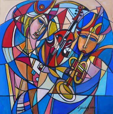 Muzykanci - 021, 2021 olej,  płótno, 124 x 125 cm